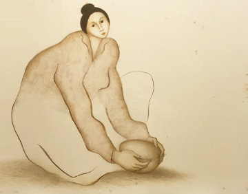 Seated Female Potter Limited Edition Print by R.C. Gorman