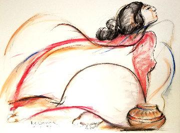 Red Shawal 1977 30x22 Original Painting by R.C. Gorman
