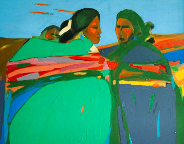 (Untitled) Two Women and Child 1967 Original Painting - R.C. Gorman