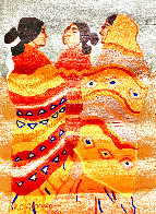 Gossips Wool Tapestry 1979 60x79 Super Huge Tapestry by R.C. Gorman - 0