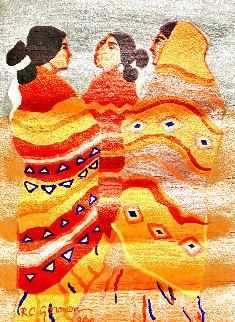Gossips Wool Tapestry 1979 60x79 Huge Tapestry - R.C. Gorman
