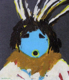 Blue Indian 1968 Very Early Work 24x20 Original Painting - R.C. Gorman