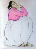 Woman with Raspberry Blouse Pastel 1985 28x22 Works on Paper (not prints) by R.C. Gorman - 0
