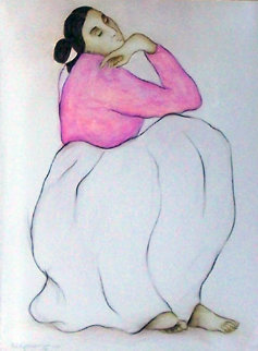 Woman with Raspberry Blouse Pastel 1985 28x22 Works on Paper (not prints) - R.C. Gorman