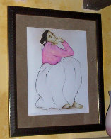Woman with Raspberry Blouse Pastel 1985 28x22 Works on Paper (not prints) by R.C. Gorman - 1