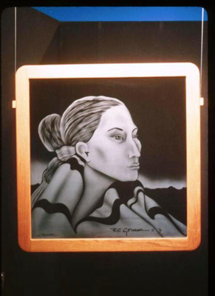 Navajo Lady Etched Glass AP Other by R.C. Gorman
