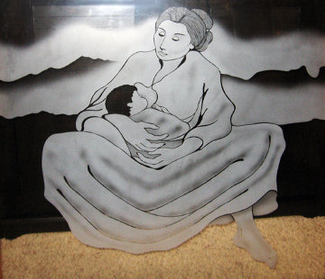 Mother and Child Glass Panel 1985 Sculpture by R.C. Gorman