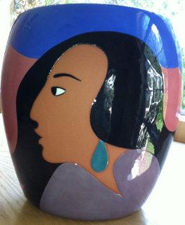 Salma's Smile Ceramic Vase 2003 Sculpture by R.C. Gorman