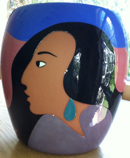Salma\'s Smile Ceramic Vase 2003 Sculpture - R.C. Gorman