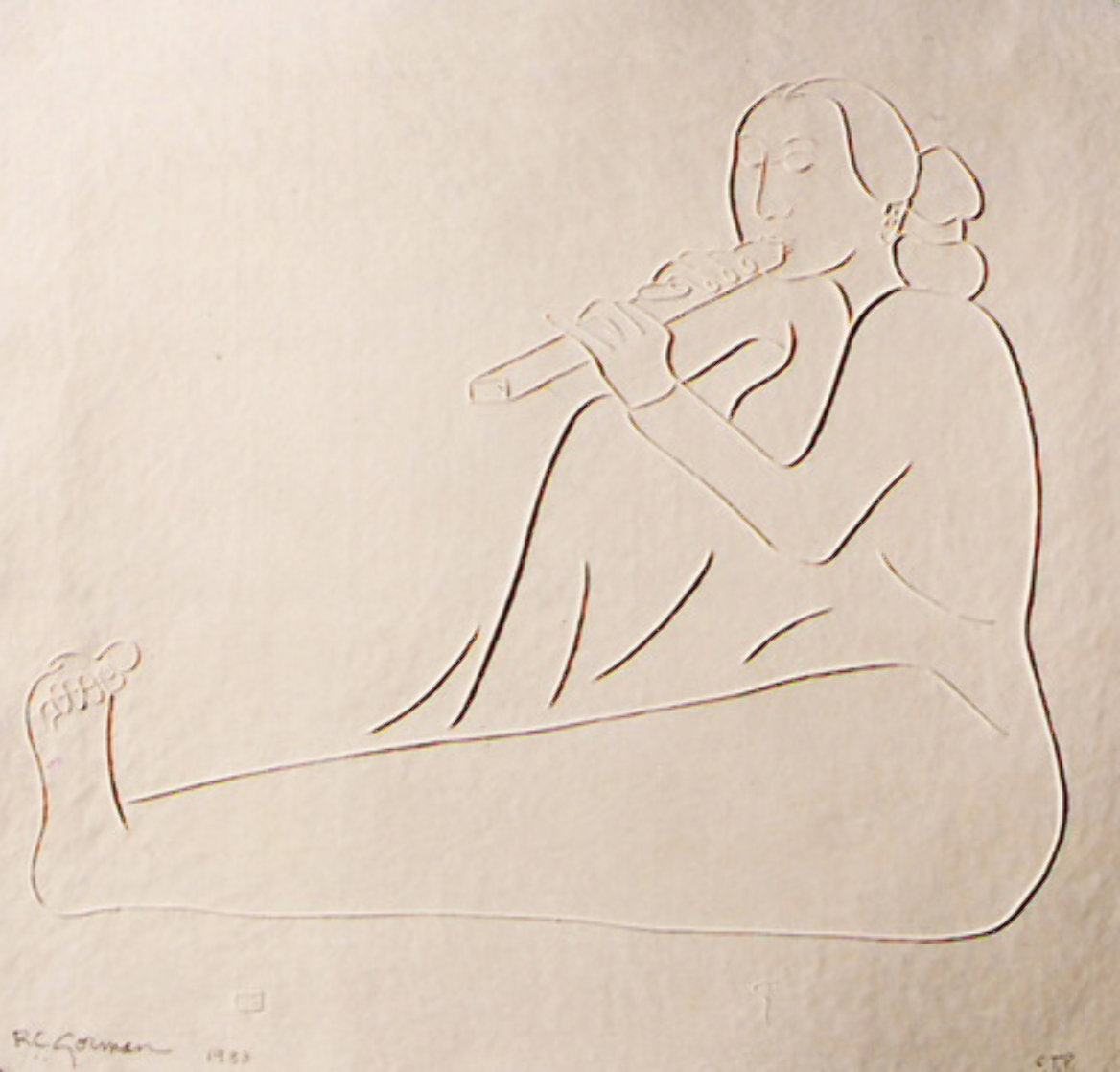 Flute Player Cast Paper 1988 Limited Edition Print by R.C. Gorman