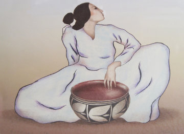 Woman With Tulip Bowl (State II) 1981 Limited Edition Print - R.C. Gorman