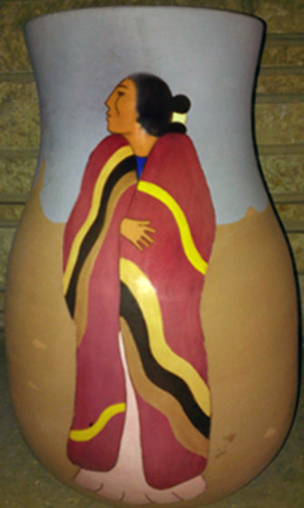 Meeting Ceramic Vase 1989 Sculpture by R.C. Gorman