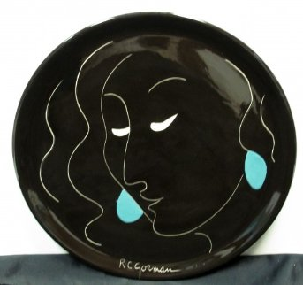 Taos Spanish Lady State I Ceramic Platter Sculpture by R.C. Gorman