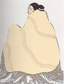 Lady in a Yellow Blanket, (State L) 1977 Limited Edition Print by R.C. Gorman
