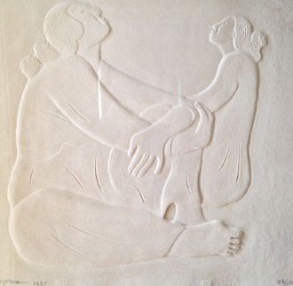 Two Women Cast Paper 1987 Limited Edition Print by R.C. Gorman