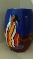 Striped Blanket Ceramic Vase 1993 Sculpture by R.C. Gorman - 7