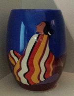 Striped Blanket Ceramic Vase 1993 Sculpture by R.C. Gorman - 0
