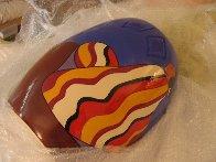 Striped Blanket Ceramic Vase 1993 Sculpture by R.C. Gorman - 3