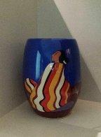 Striped Blanket Ceramic Vase 1993 Sculpture by R.C. Gorman - 2