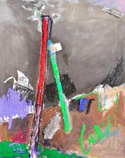Red and Green Poles 1992 39x28 Original Painting - Tonino Gottarelli