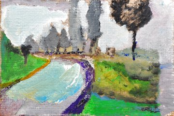 Tree Scattering 1995 13x15 Original Painting - Tonino Gottarelli