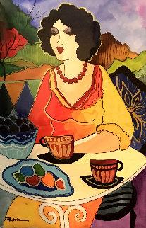 Conversations Watercolor 2019 21x43 Watercolor by Patricia Govezensky