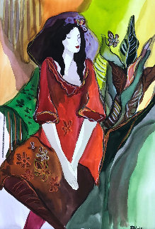 Untitled (Woman Red Shirt) Watercolor 21x14 Works on Paper (not prints) - Patricia Govezensky