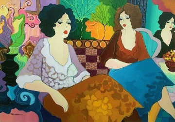 At the Cafe 2006 32x43 Super Huge Original Painting - Patricia Govezensky