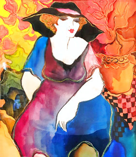 Untitled Watercolor 2009 21x19 Original Painting - Patricia Govezensky
