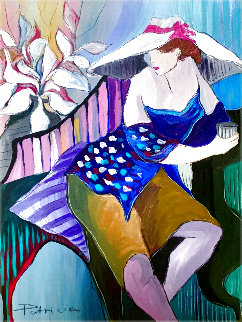 Woman in Blue 1988 42x30 Original Painting - Patricia Govezensky