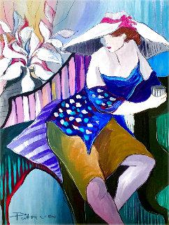 Woman in Blue 1988 42x30 Super Huge Original Painting - Patricia Govezensky