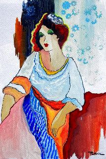Untitled Portrait of a Woman Watercolor 20x17 Original Painting - Patricia Govezensky