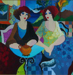 Untitled Women in Cafe Original Painting - Patricia Govezensky