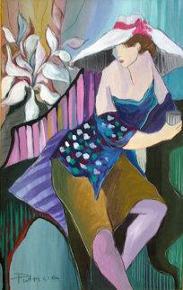 Woman in Blue 1988 30x42 Super Huge Original Painting - Patricia Govezensky