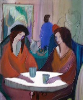 Cafe Diane 1988 30x24 Original Painting - Patricia Govezensky