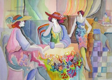Untitled Women at Table 1979 37x44 Watercolor by Patricia Govezensky