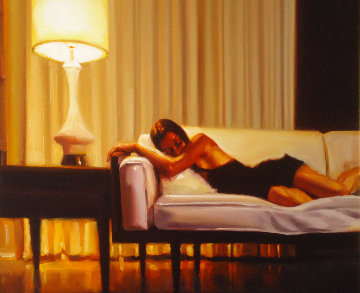 Woman on Couch 23x27 Original Painting by Carrie Graber