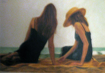 Conversation II 2004 18x30 Original Painting - Carrie Graber