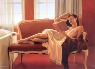 Reclined Read 2009 Limited Edition Print by Carrie Graber