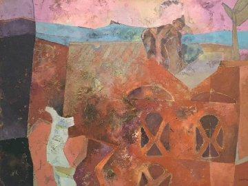 Celosia Femenia 1990  43x53 Original Painting - Luis Granda
