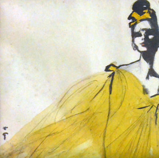 La Dames Au Chapeau Jaune Watercolor 1986 13x13 Watercolor - Rene Gruau