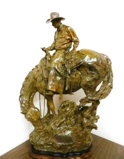 Wall Street From a Saddle Seat Bronze Sculpture 39 in Sculpture - Bruce Greene
