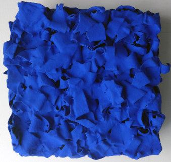 Blue Black Wood Sculpture 2010 12x12 Sculpture - Gregory Coates