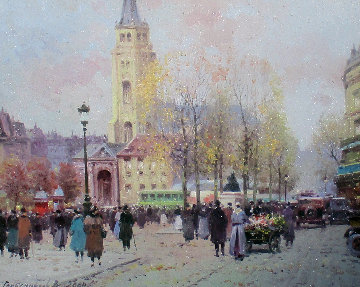Paris in Winter 2004 16x18 Original Painting - Vasily Gribennikov