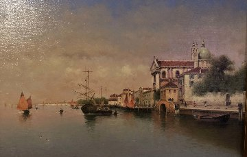 Venice Harbor 2008 17x23 Original Painting - Vasily Gribennikov