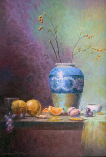 Blue Vase with Fruits 2012 Original Painting - Vasily Gribennikov