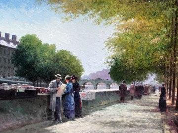 Book Peddler By River Seine 2014 14x19 Original Painting - Vasily Gribennikov