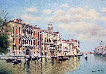 Venice Canal 2014 19x24 Original Painting - Vasily Gribennikov