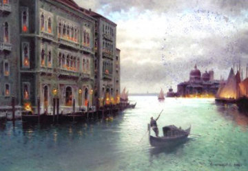 Evening on Venice Canal 2014 19x24 Original Painting - Vasily Gribennikov