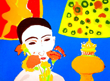 Woman With Flowers 1980 Limited Edition Print - John Grillo